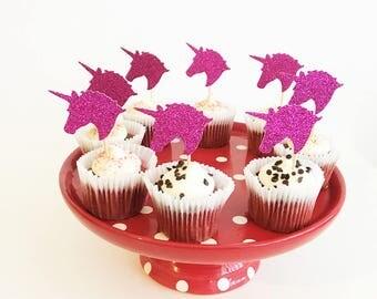 Unicorn head cupcake toppers, Glitter Cupcake Picks, Princess Party Cake Decor, Fairy Tale Party, Rainbow, Custom Cupcake Toppers, Set of 10