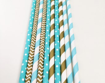 Paper party straws, Blue and Gold, 1st Birthday, gender reveal, baby shower, Bachelor Stag Party, Prince birthday theme, Table Decorations