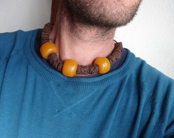 leather and amber necklace, adjustable leather necklace with 3 amber beads mens leather necklace mens gift