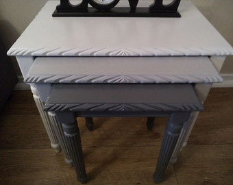 SOLD - Amazing painted Nest of Table OMBRE