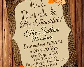 Thanksgiving Dinner Invitation, Thanksgiving party, Burlap Invitation *Digital File*