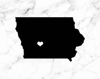 Iowa decal, Iowa state sticker, State laptop decal, Home sweet home