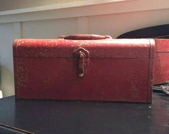 Vintage Metal Tool Box - Rusty Tool Box - Tool Box with Tray - Rustic Decor - Industrial Decor - Metal Storage - Tool Storage - Tackle Box