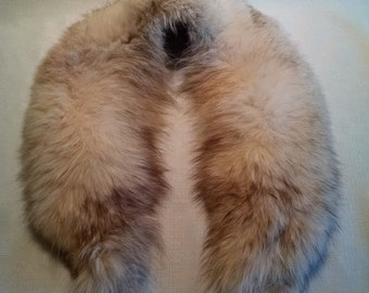 Vintage Cream and Brown Fox Fur Collar Scarf Stole 1960s Elegant