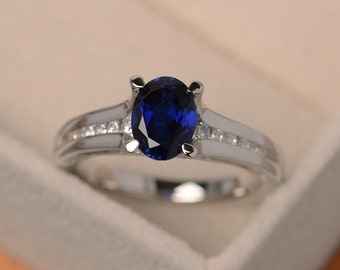 Sapphire rings, oval cut, blue sapphire engagement ring, silver sapphire ring