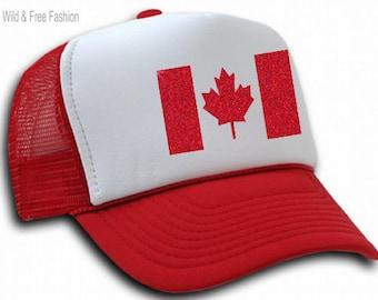 Canada Flag Trucker Hat   Ladies Canada Day Hat   Womens Canada Maple Leaf Snapback Hat