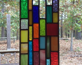 Stained Glass Christian Cross Sun Catcher, hanging