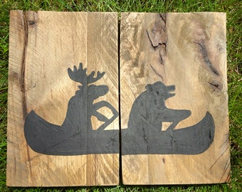 Rustic Moose & Bear Canoeing Pallet Sign