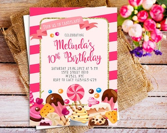 Candyland birthday invitation, sweet candy birthday invitation, lollipop invitations, sweet celebration invitation, sweet shoppe party