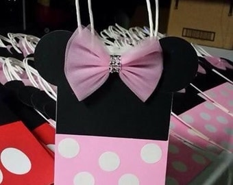 Minnie mouse favor bags, hand made, paper bags