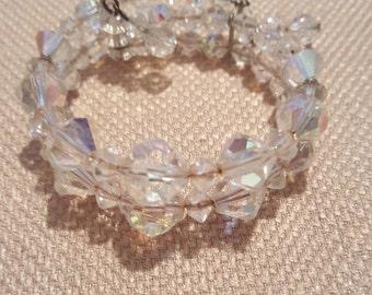 Vintage Arora Borealis Wrap Bracelet Two Strand 6 and half inches long