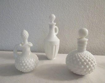 Vintage Avon Milk Glass Decanters