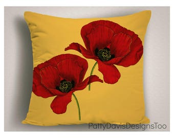 Outdoor Pillows, Red Yellow Patio Pillow, Pillow Cushion California Poppy,  Throw Pillow Outdoor
