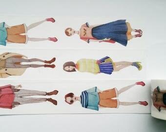 Design Washi tape girl fashion summer