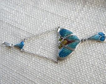 Art Nouveau style Silver 925 pendant ~ Blue ENAMEL beautiful colours ~ in2171