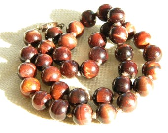 vintage TIGER EYE round beads necklace ~ 9mm ~ burgundy brown colour ~ inA2198