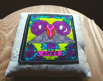 Aries Aromatherapy Heat/Cool Pack! Vegan Organic Wheat Pack with Zodiac Star Sign.