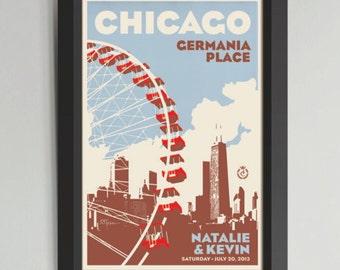 Chicago Ferris Wheel Personalized Framed Wedding Art (Large)