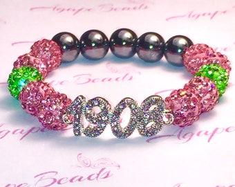 Alpha Kappa Alpha AKA Inspired Pink Crystal 1908 Bracelet