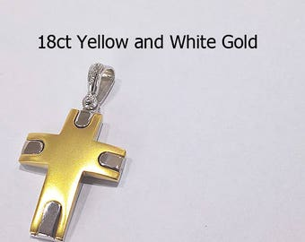 18ct 750 Two Tone White and Yellow Gold Crucifix Cross Pendant - EJD25