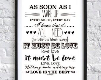 MUST BE LOVE Madness Song Lyrics Typographic Wall Art Print