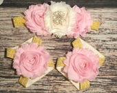 Pink Cream and Gold Rhinestone Headband and Barefoot Sandals Set / Baby Headband / Baby Barefoot Sandals / Toddler / Infant / Baby Girl Bows