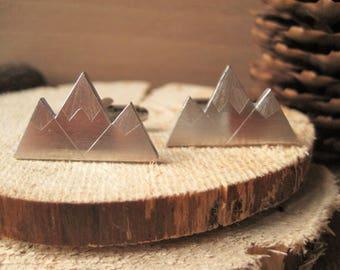 Snowy Mountain Alps Triple Peak Aluminium Cufflinks