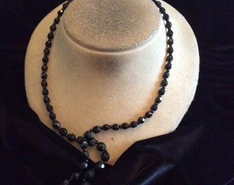 Vintage Long Graduated Black Glass Beaded Necklace