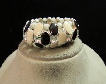 Vintage Chunky Black Off White Enameled Moon Beaded Bracelet
