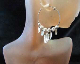 Vintage Pair Of Silvertone Hoop Pierced Earrings With Danging Feather Charms