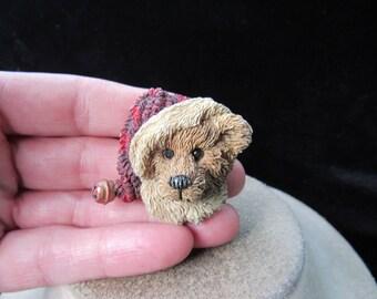 Vintage Christmas Ceramic Teddy Bear Wearing Santa Hat Pin