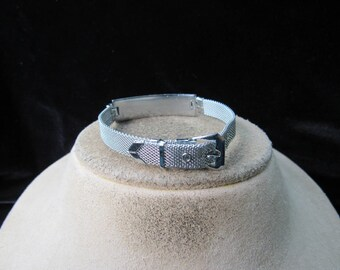 Vintage Silvertone Mesh Buckle/Engraveable Bracelet