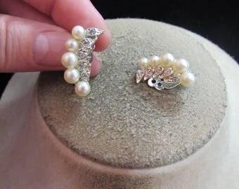 Vintage Pair Of Faux Pearl & Clear Rhinestone Clip Earrings