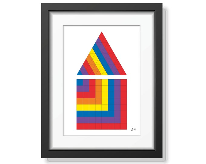 Triangle and square 05 [mathematical abstract art print, unframed] A4/A3 sizes