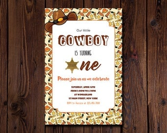 Cowboy Birthday Invitation - Boys Birthday Invitation - Cowboy Party Invite - Boys Cowboy Invitation - Cowboy Invite - Cowboy Invitation