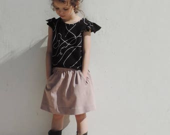 SALE || Girls Pink Skirt || Elastic Waist Skirt || Skirt With Pockets || Last Sizes 9Y Size 10Y - By PetitWild