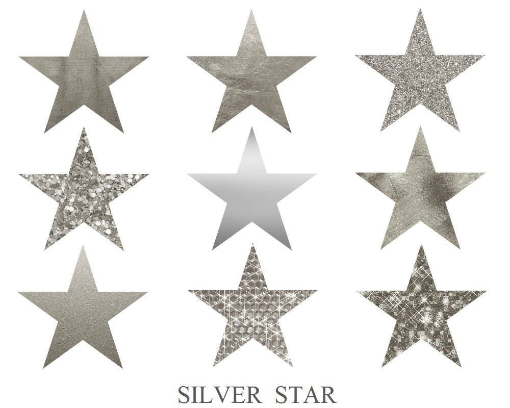 buy 3 for 9 usd silver star stars clip art stars