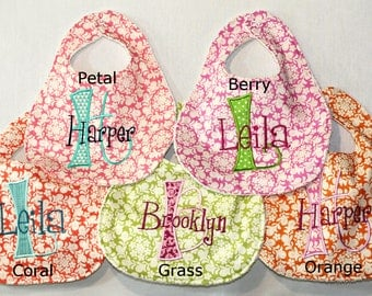 Henna Collection Bib with Baby's First letter and name on your choice of Henna fabric