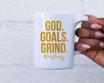 God Goals Grind #bosslady  Mug | Boss Lady Mug | Boss Lady Coffee Mug | Girl Boss