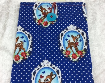 Deer & Roses Bambi  Small Tablet Case fabric cover pouch handmade in England