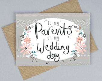 To My Parents On My Wedding Day Card, Parents Card, Thank You Parents Card, Tandem Green, Worldwide Shipping