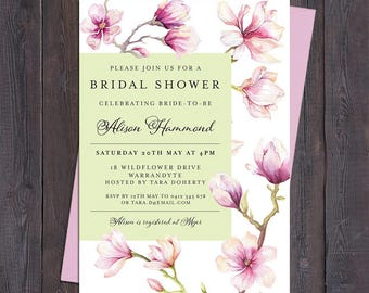 Magnolia invitation, magnolia flowers, for any occasion - engagement, bridal or baby shower, save the date, wedding, digital printable
