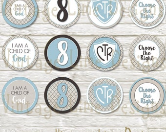 LDS Baptism Party Cupcake Toppers, Food Labels, Decorations, Digital Printable, Burlap, Primary - Instant Download - Can Customize