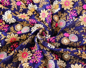 Half yard - Blue Embroidered Fabric, Georgette Fabric with Gold Embroidery, Indian Embroidered Fabric, Floral Fabric