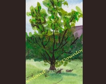 Download -Tree - watercolour