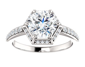 Hexagon Halo Style Round Cut Forever One Moissanite and Natural Diamond Ring / 14KX1 White Gold / 7.5mm Center Stone / 34 Diamonds