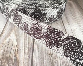 Wedding ribbon - Black lace look - Fancy printed ribbon - Wedding grosgrain ribbon - Vintage look - Popular wedding ribbon - 3 or 5 yards