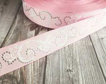 Pink wedding ribbon - Foil dots ribbon - Fancy pink ribbon - Baby shower ribbon - Wedding shower ribbon - Wedding bouquet ribbon - Grosgrain