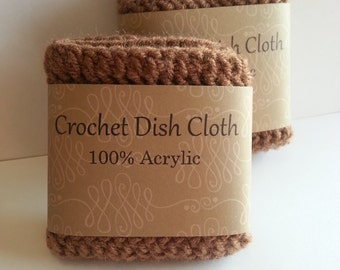 Crochet dishcloth, Crochet dish cloth, Brown dish cloths, 100% Acrylic, Set of 2