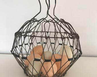 vintage collapsible egg basket   wire basket, egg basket, folding basket, plant holder, egg holder, farmhouse decor, french egg basket